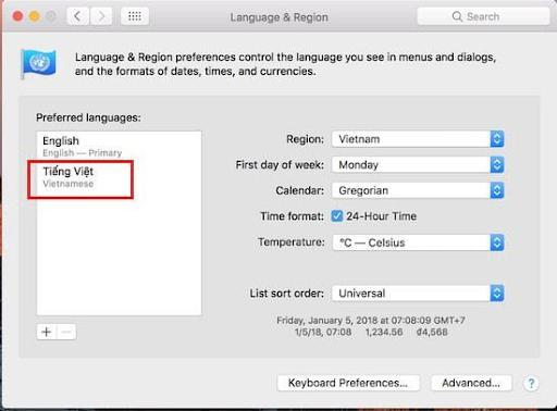 Hướng dẫn thay đổi giao diện tiếng Việt trên Macbook