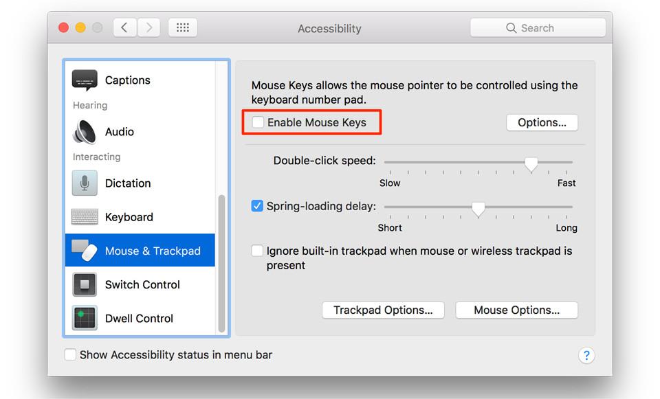 Kiểm tra Mouse Key trên Macbook