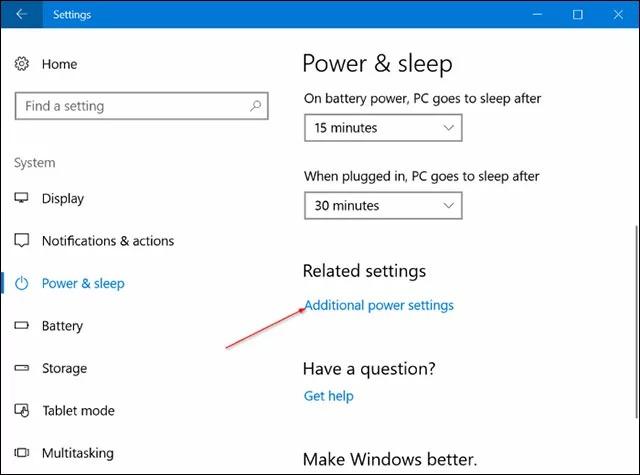 Mở cửa sổ Power Options